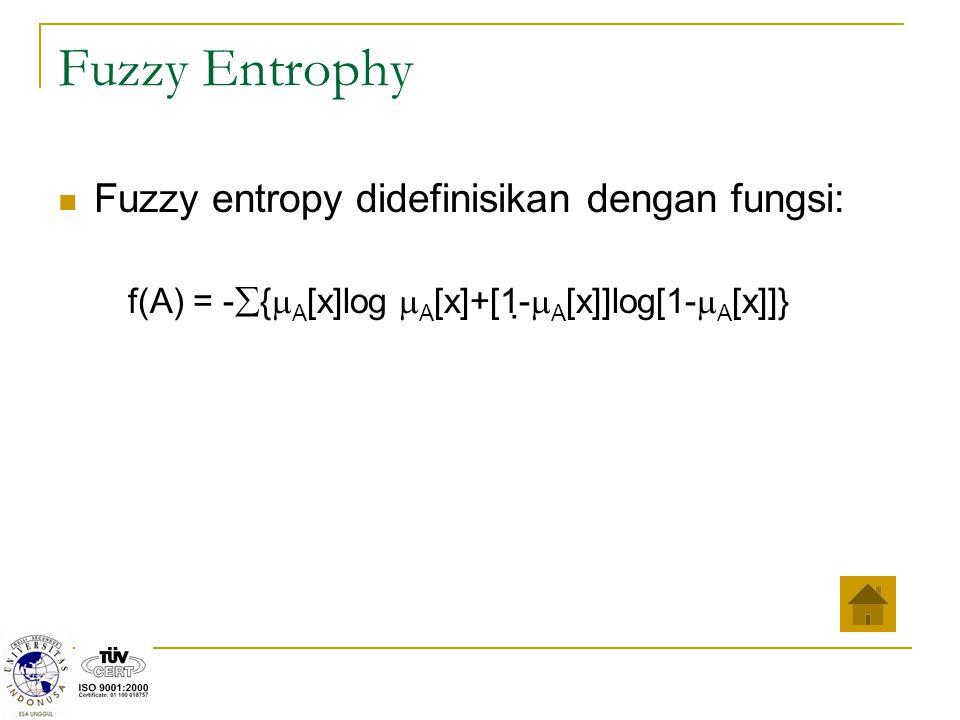 Fuzzy Entrophy Fuzzy entropy didefinisikan dengan fungsi: f(A) = -  {  A [x]log  A [x]+[1-  A [x]]log[1-  A [x]]}