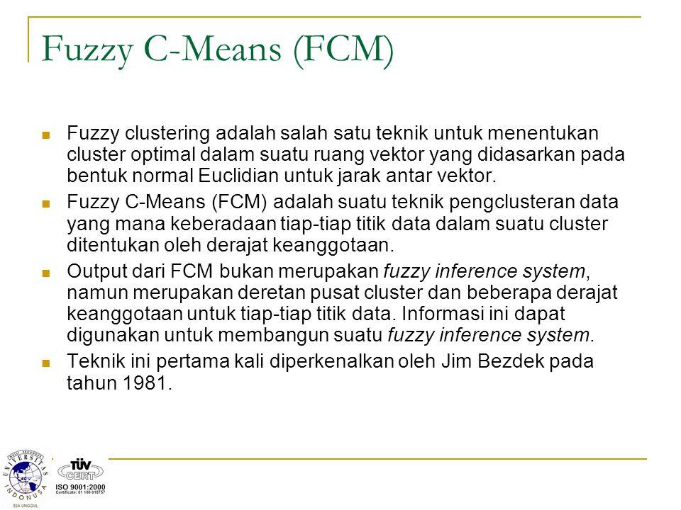 Fuzzy C-Means (FCM) Fuzzy clustering adalah salah satu teknik untuk menentukan cluster optimal dalam suatu ruang vektor yang didasarkan pada bentuk normal Euclidian untuk jarak antar vektor.