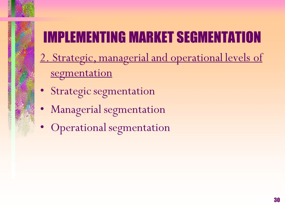 29 IMPLEMENTING MARKET SEGMENTATION 1.The scope and purpose of market segmentation Levels of segmentation Marketing planning, budgeting and resource a