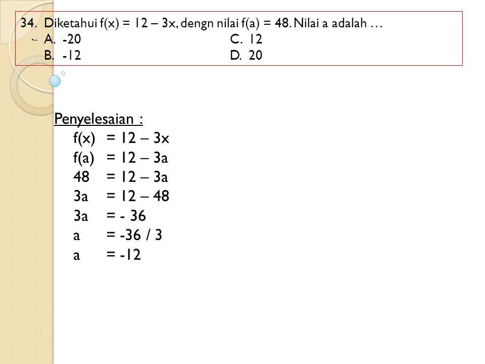 34. Diketahui f(x) = 12 – 3x, dengn nilai f(a) = 48. Nilai a adalah … A.-20 C.12 B.-12D.20 Penyelesaian : f(x) = 12 – 3x f(a)= 12 – 3a 48= 12 – 3a 3a=