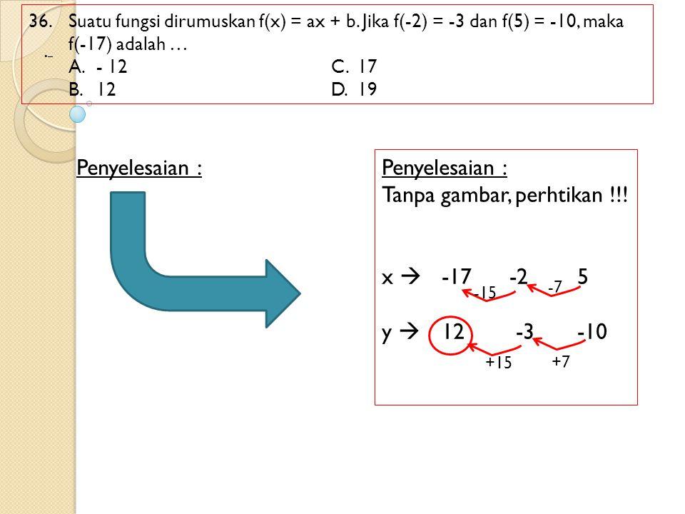 36. Suatu fungsi dirumuskan f(x) = ax + b. Jika f(-2) = -3 dan f(5) = -10, maka f(-17) adalah … A. - 12C.17 B.12D.19 Penyelesaian : – Tanpa gambar, pe