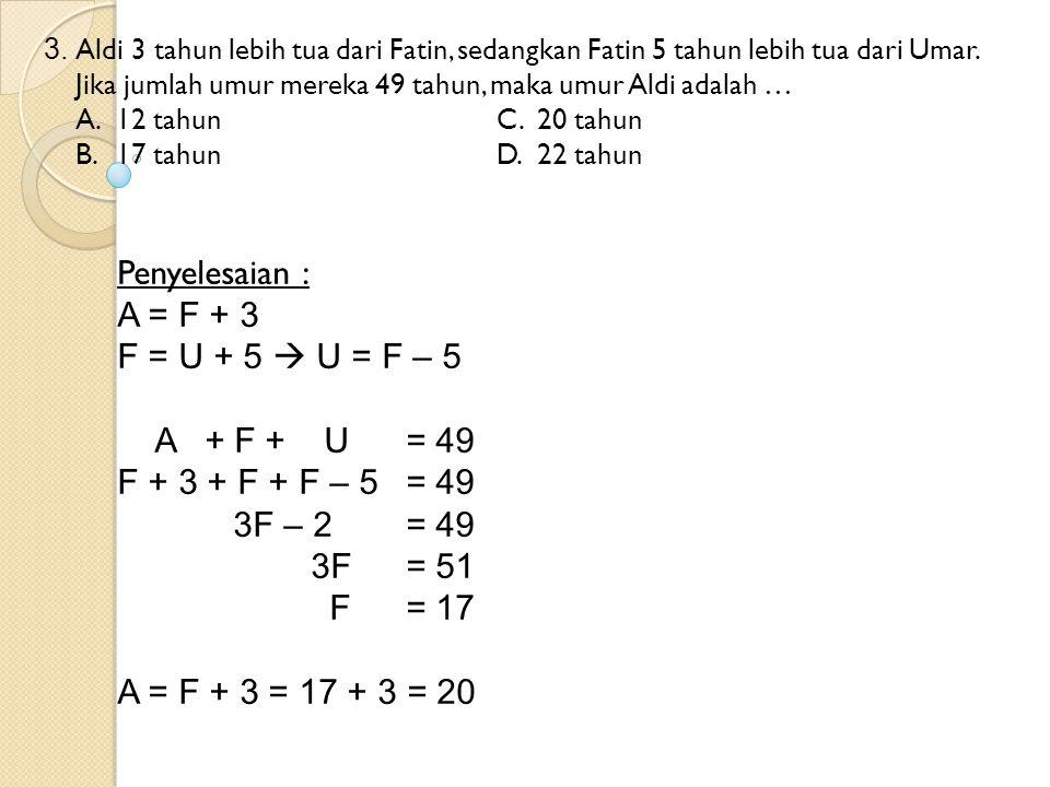 3. Aldi 3 tahun lebih tua dari Fatin, sedangkan Fatin 5 tahun lebih tua dari Umar. Jika jumlah umur mereka 49 tahun, maka umur Aldi adalah … A.12 tahu