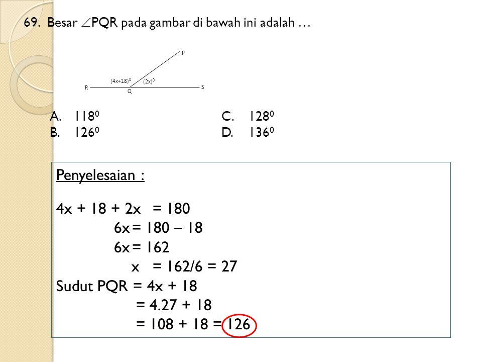 69.Besar  PQR pada gambar di bawah ini adalah … A.118 0 C.128 0 B.126 0 D.136 0 Penyelesaian : 4x + 18 + 2x = 180 6x= 180 – 18 6x= 162 x= 162/6 = 27