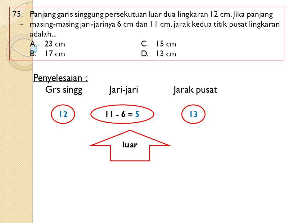 75. Panjang garis singgung persekutuan luar dua lingkaran 12 cm. Jika panjang masing-masing jari-jarinya 6 cm dan 11 cm, jarak kedua titik pusat lingk