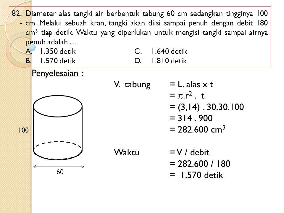 82. Diameter alas tangki air berbentuk tabung 60 cm sedangkan tingginya 100 cm. Melalui sebuah kran, tangki akan diisi sampai penuh dengan debit 180 c