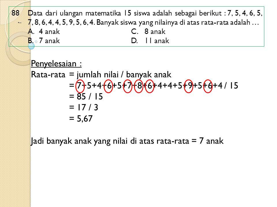 88 Data dari ulangan matematika 15 siswa adalah sebagai berikut : 7, 5, 4, 6, 5, 7, 8, 6, 4, 4, 5, 9, 5, 6, 4. Banyak siswa yang nilainya di atas rata