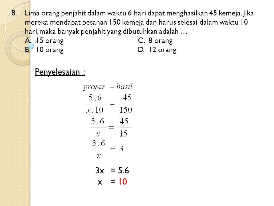 69.Besar  PQR pada gambar di bawah ini adalah … A.118 0 C.128 0 B.126 0 D.136 0 Penyelesaian : 4x + 18 + 2x = 180 6x= 180 – 18 6x= 162 x= 162/6 = 27 Sudut PQR = 4x + 18 = 4.27 + 18 = 108 + 18 = 126 (2x) 0 (4x+18) 0 S R Q P