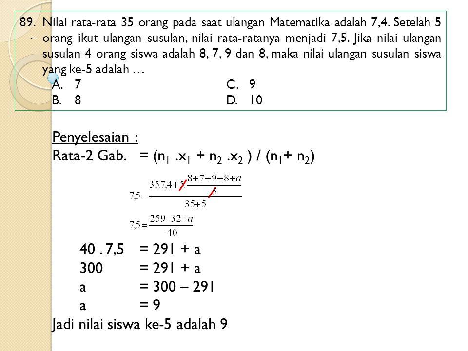 89. Nilai rata-rata 35 orang pada saat ulangan Matematika adalah 7,4. Setelah 5 orang ikut ulangan susulan, nilai rata-ratanya menjadi 7,5. Jika nilai