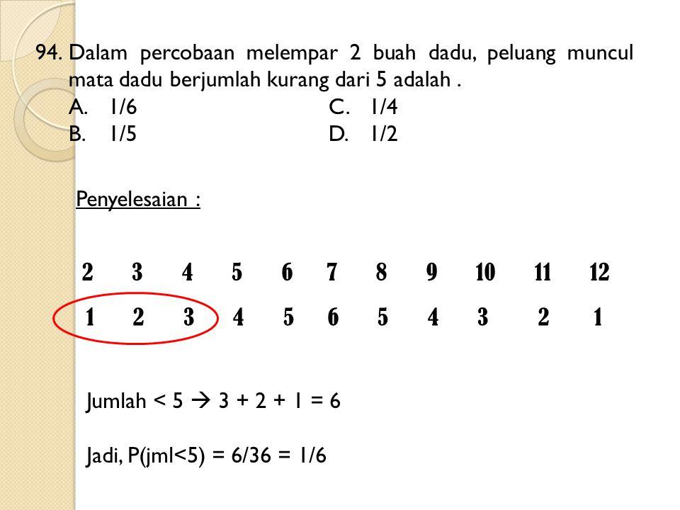 94.Dalam percobaan melempar 2 buah dadu, peluang muncul mata dadu berjumlah kurang dari 5 adalah. A.1/6C.1/4 B.1/5D.1/2 2 3 4 5 6 7 8 9 10 11 12 1 2 3