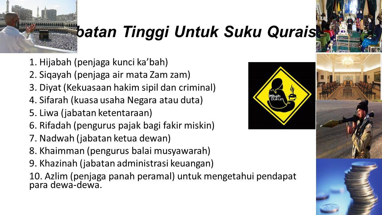 Jabatan Tinggi Untuk Suku Quraisy 1. Hijabah (penjaga kunci ka'bah) 2. Siqayah (penjaga air mata Zam zam) 3. Diyat (Kekuasaan hakim sipil dan criminal