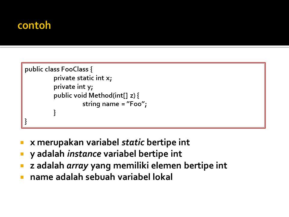  x merupakan variabel static bertipe int  y adalah instance variabel bertipe int  z adalah array yang memiliki elemen bertipe int  name adalah sebuah variabel lokal public class FooClass { private static int x; private int y; public void Method(int[] z) { string name = Foo ; }