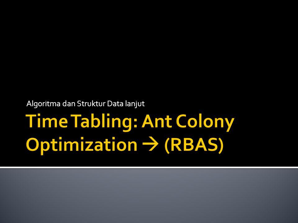  Penjadwalan: masalah penentuan beberapa kejadian ke beberapa slot waktu (time tabling)  Time tabling di sini adalah untuk masalah optimasi penjadwalan  menjadwalkan sesuatu secara cepat dan tepat.