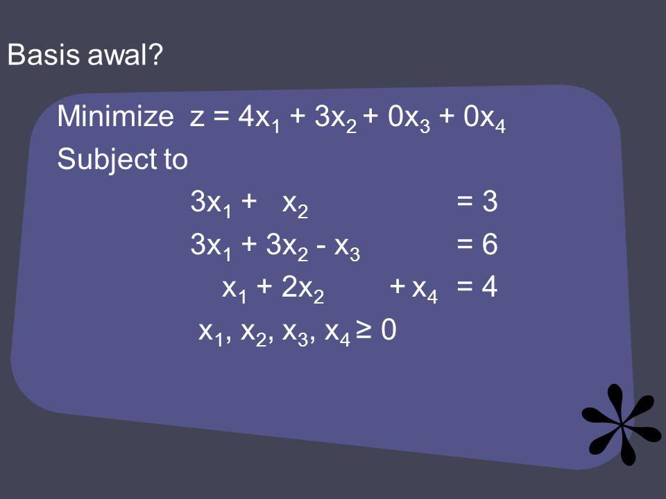 Minimizez = 4x 1 + 3x 2 + 0x 3 + 0x 4 Subject to 3x 1 + x 2 = 3 3x 1 + 3x 2 - x 3 = 6 x 1 + 2x 2 + x 4 = 4 x 1, x 2, x 3, x 4 ≥ 0 Basis awal?