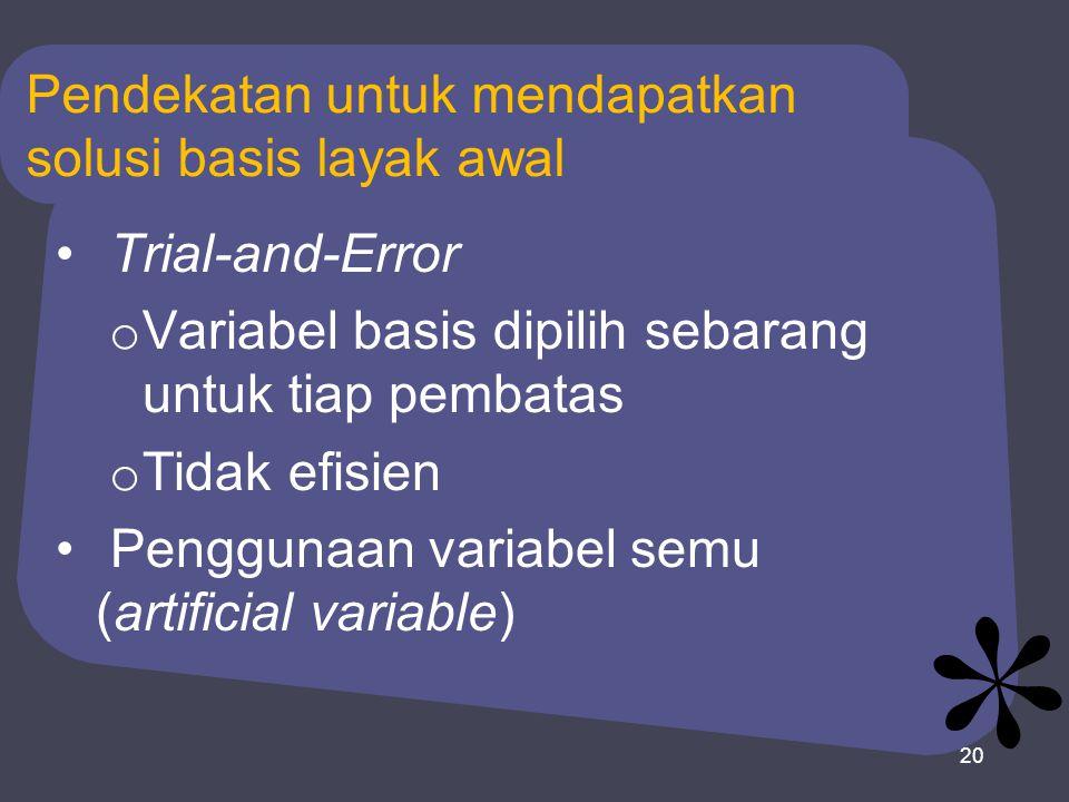 20 Pendekatan untuk mendapatkan solusi basis layak awal Trial-and-Error o Variabel basis dipilih sebarang untuk tiap pembatas o Tidak efisien Penggunaan variabel semu (artificial variable)