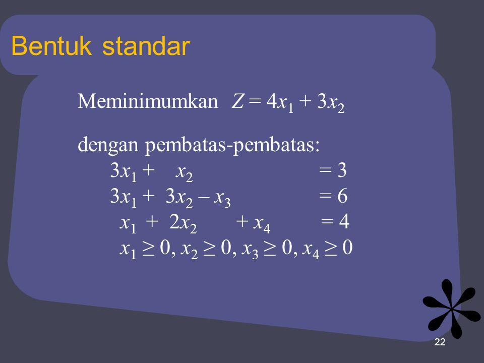 22 Bentuk standar Meminimumkan Z = 4x 1 + 3x 2 dengan pembatas-pembatas: 3x 1 + x 2 = 3 3x 1 + 3x 2 – x 3 = 6 x 1 + 2x 2 + x 4 = 4 x 1 ≥ 0, x 2 ≥ 0, x 3 ≥ 0, x 4 ≥ 0