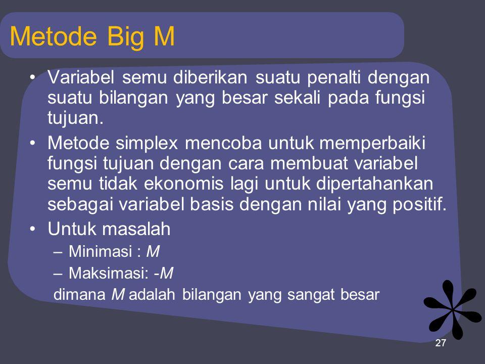 27 Metode Big M Variabel semu diberikan suatu penalti dengan suatu bilangan yang besar sekali pada fungsi tujuan. Metode simplex mencoba untuk memperb