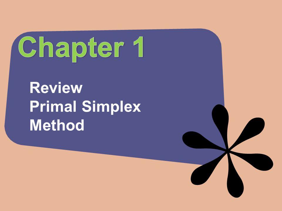 Review Primal Simplex Method