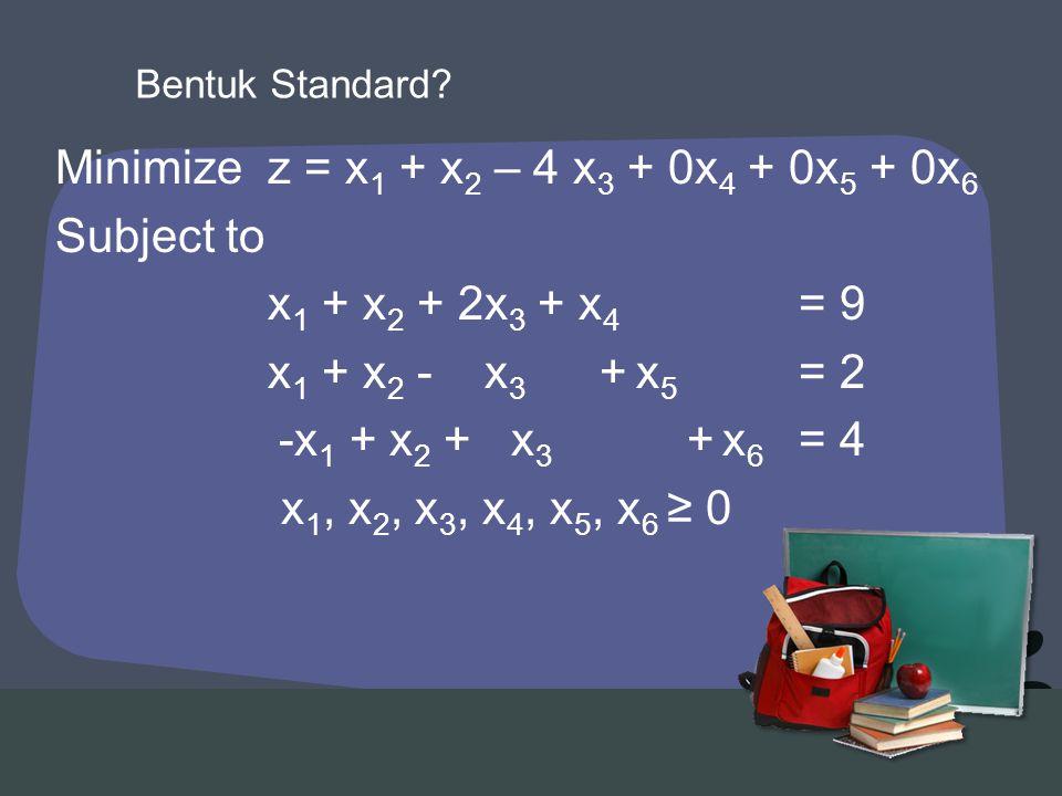 Minimizez = x 1 + x 2 – 4 x 3 + 0x 4 + 0x 5 + 0x 6 Subject to x 1 + x 2 + 2x 3 + x 4 = 9 x 1 + x 2 - x 3 + x 5 = 2 -x 1 + x 2 + x 3 + x 6 = 4 x 1, x 2, x 3, x 4, x 5, x 6 ≥ 0 Bentuk Standard?