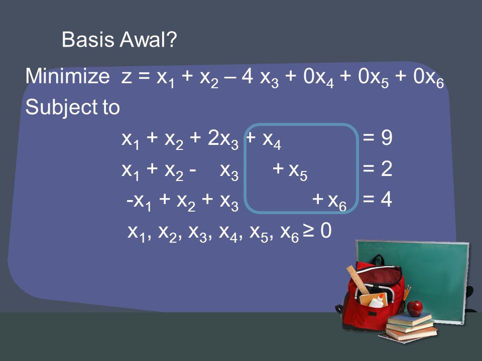 Minimizez = x 1 + x 2 – 4 x 3 + 0x 4 + 0x 5 + 0x 6 Subject to x 1 + x 2 + 2x 3 + x 4 = 9 x 1 + x 2 - x 3 + x 5 = 2 -x 1 + x 2 + x 3 + x 6 = 4 x 1, x 2, x 3, x 4, x 5, x 6 ≥ 0 Basis Awal?
