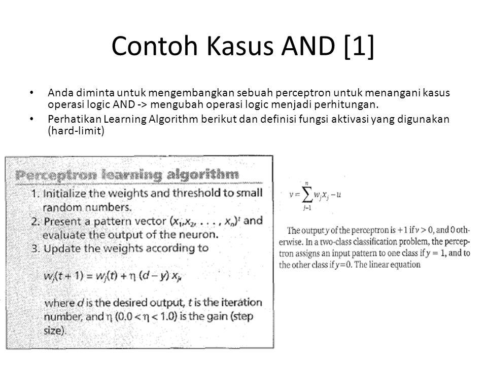 Contoh Kasus AND [2] Misalkan diberikan inisialisasi bobot dan bias sebagai berikut : w1=0.5 ; w2=0.5; bias (u)=- 1.5 Learning rate (η)= 1; Dengan inisialisasi awal tersebut maka formuluasi luaran perceptron adalah: – 0.5 * x1 + 0.5 * x2 -u