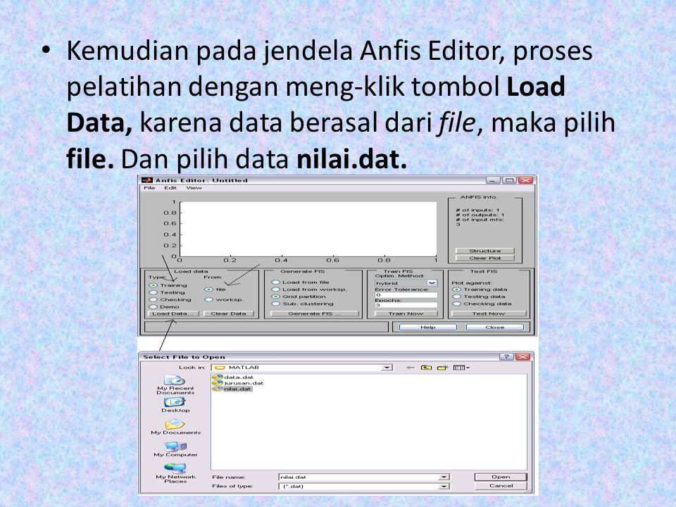 Kemudian pada jendela Anfis Editor, proses pelatihan dengan meng-klik tombol Load Data, karena data berasal dari file, maka pilih file. Dan pilih data