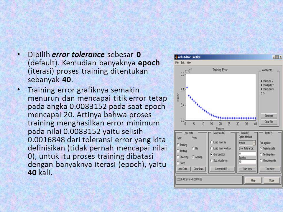 Dipilih error tolerance sebesar 0 (default). Kemudian banyaknya epoch (iterasi) proses training ditentukan sebanyak 40. Training error grafiknya semak