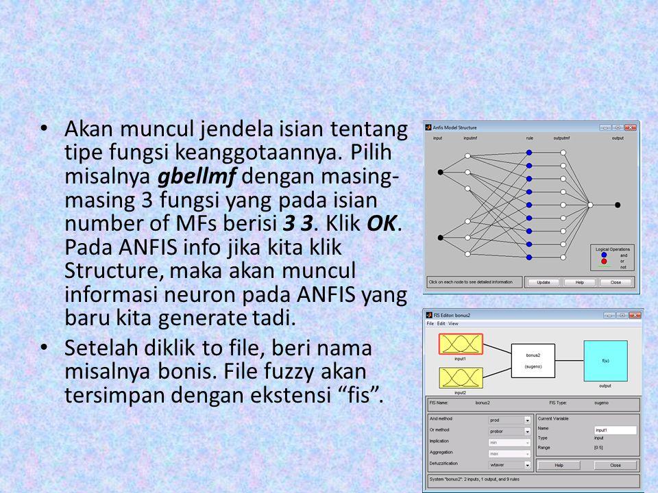 Akan muncul jendela isian tentang tipe fungsi keanggotaannya. Pilih misalnya gbellmf dengan masing- masing 3 fungsi yang pada isian number of MFs beri