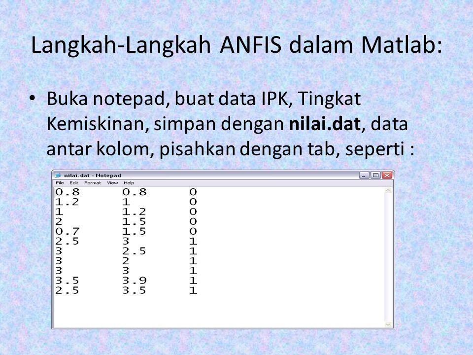 Langkah-Langkah ANFIS dalam Matlab: Buka notepad, buat data IPK, Tingkat Kemiskinan, simpan dengan nilai.dat, data antar kolom, pisahkan dengan tab, s