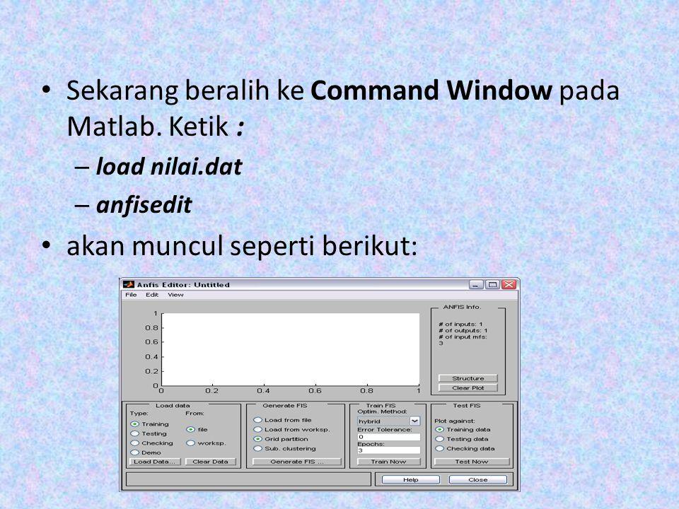 Sekarang beralih ke Command Window pada Matlab. Ketik : – load nilai.dat – anfisedit akan muncul seperti berikut: