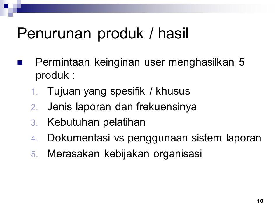 10 Penurunan produk / hasil Permintaan keinginan user menghasilkan 5 produk : 1. Tujuan yang spesifik / khusus 2. Jenis laporan dan frekuensinya 3. Ke