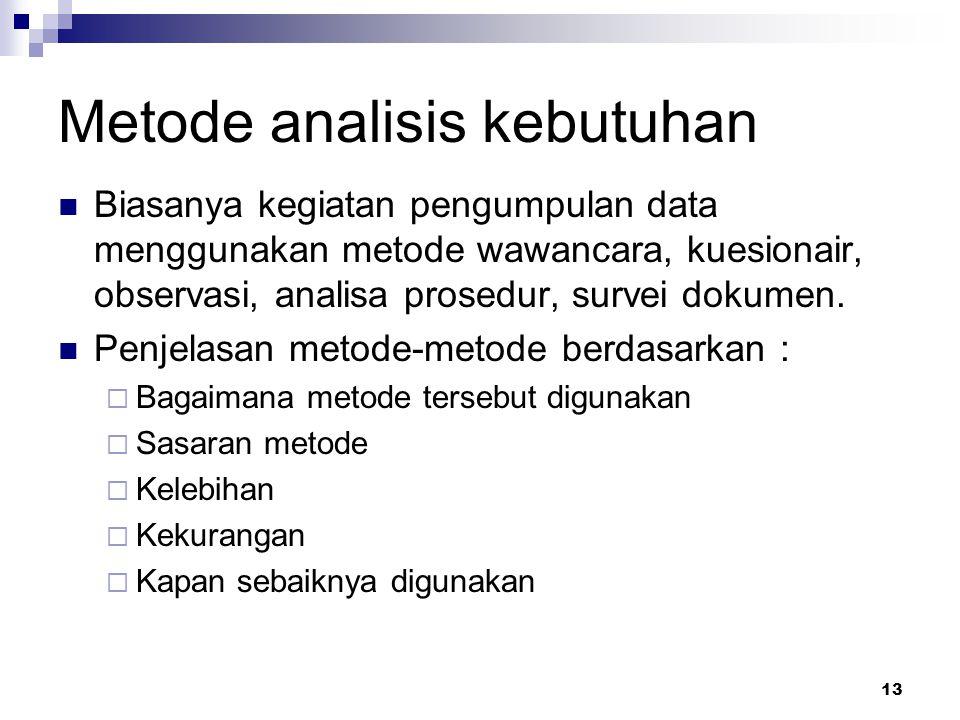 13 Metode analisis kebutuhan Biasanya kegiatan pengumpulan data menggunakan metode wawancara, kuesionair, observasi, analisa prosedur, survei dokumen.