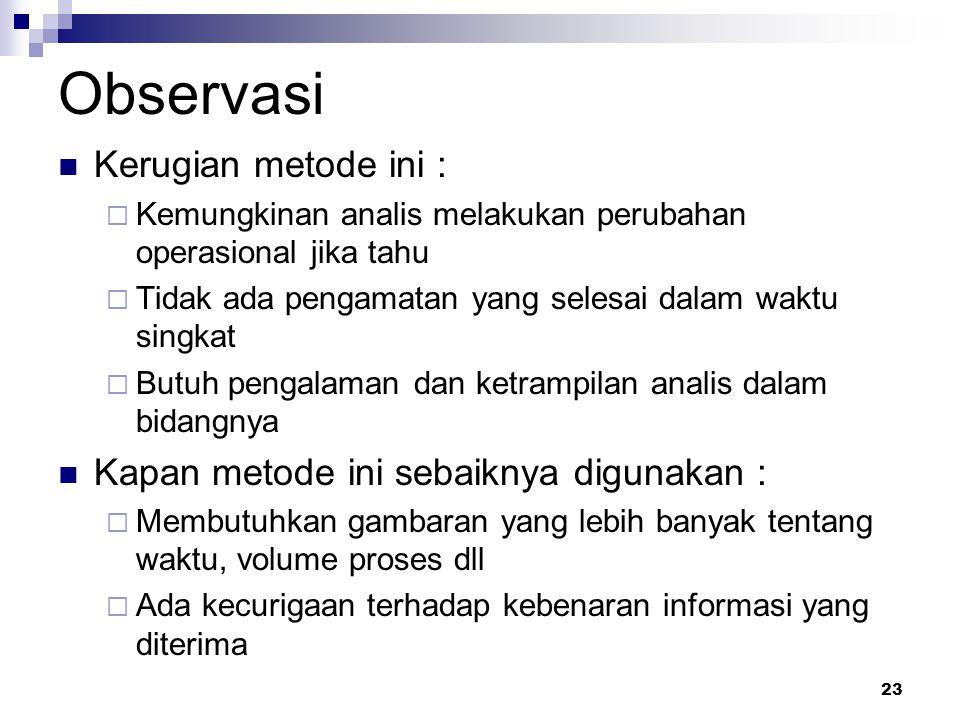 23 Observasi Kerugian metode ini :  Kemungkinan analis melakukan perubahan operasional jika tahu  Tidak ada pengamatan yang selesai dalam waktu sing