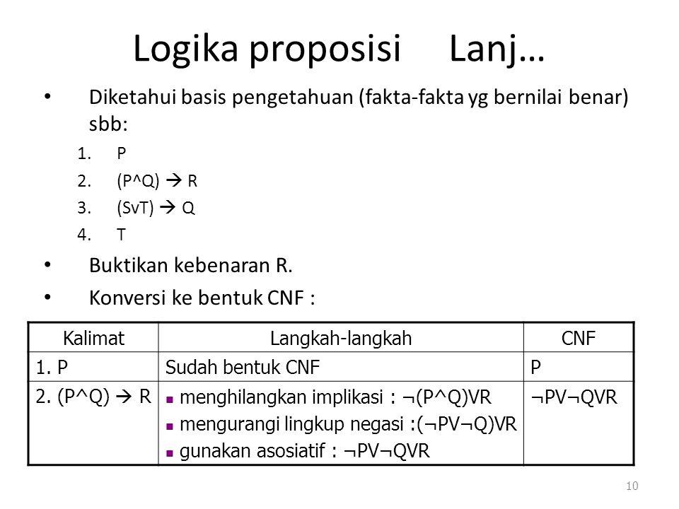 Logika proposisi Lanj… Diketahui basis pengetahuan (fakta-fakta yg bernilai benar) sbb: 1.P 2.(P^Q)  R 3.(SvT)  Q 4.T Buktikan kebenaran R. Konversi
