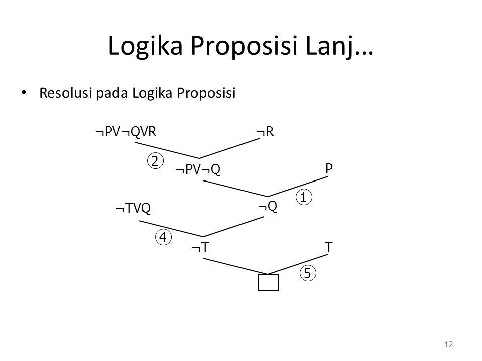Logika Proposisi Lanj… Resolusi pada Logika Proposisi 12 ¬PV¬QVR¬R ¬PV¬Q P ¬Q ¬TVQ ¬T T 2 1 4 5