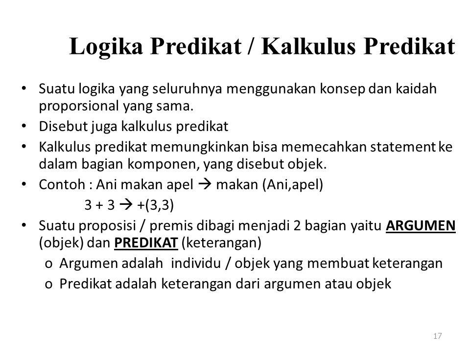 Logika Predikat / Kalkulus Predikat Suatu logika yang seluruhnya menggunakan konsep dan kaidah proporsional yang sama. Disebut juga kalkulus predikat