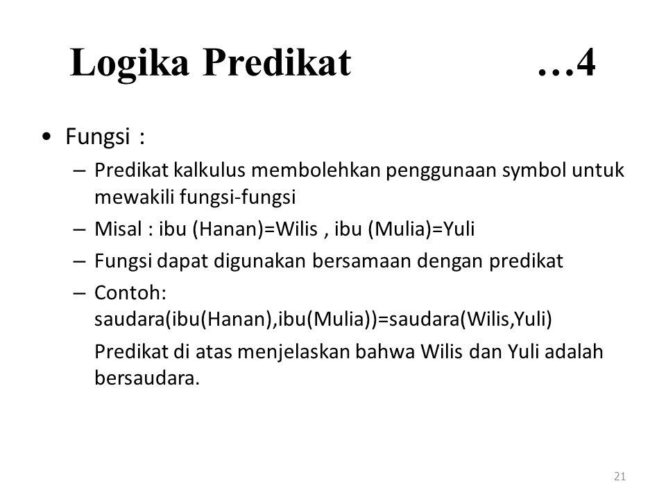 Logika Predikat …4 Fungsi : – Predikat kalkulus membolehkan penggunaan symbol untuk mewakili fungsi-fungsi – Misal : ibu (Hanan)=Wilis, ibu (Mulia)=Yuli – Fungsi dapat digunakan bersamaan dengan predikat – Contoh: saudara(ibu(Hanan),ibu(Mulia))=saudara(Wilis,Yuli) Predikat di atas menjelaskan bahwa Wilis dan Yuli adalah bersaudara.
