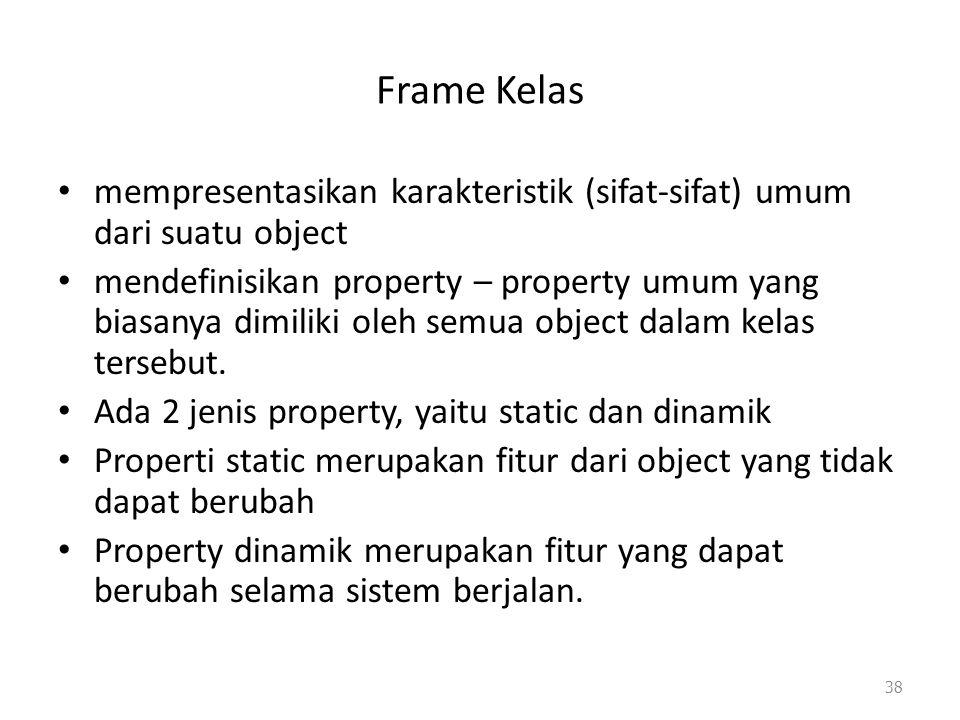 Frame Kelas mempresentasikan karakteristik (sifat-sifat) umum dari suatu object mendefinisikan property – property umum yang biasanya dimiliki oleh se