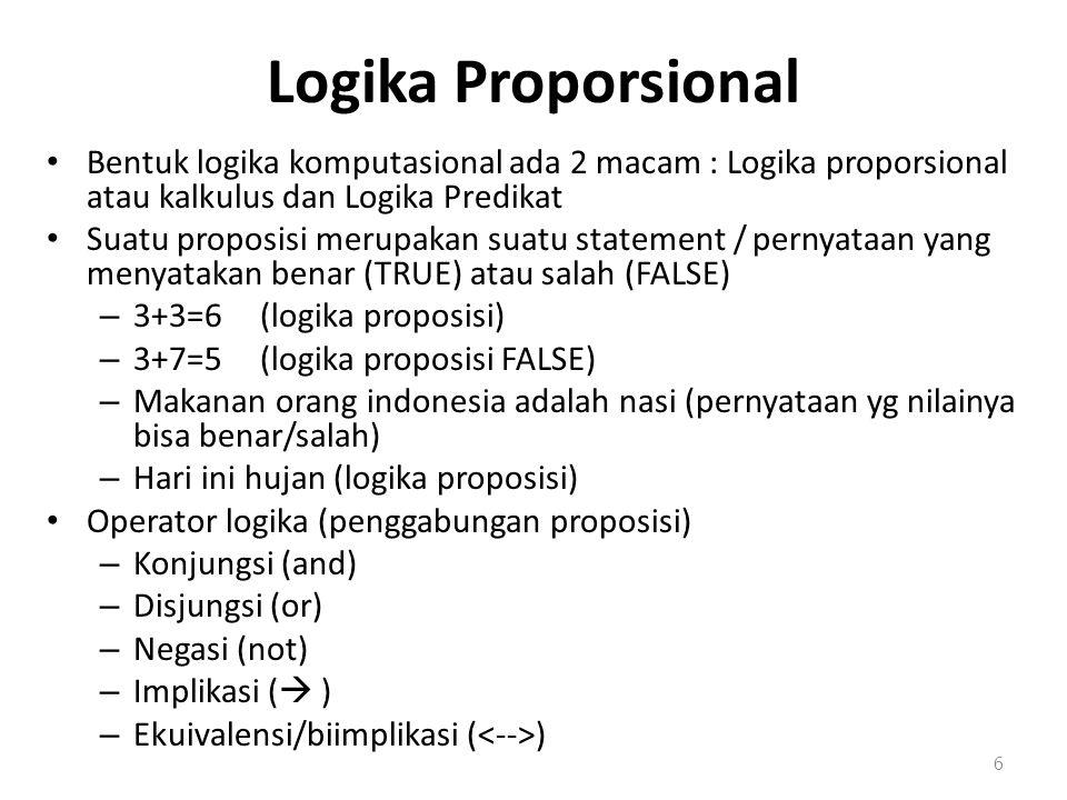 Logika Proporsional Bentuk logika komputasional ada 2 macam : Logika proporsional atau kalkulus dan Logika Predikat Suatu proposisi merupakan suatu statement / pernyataan yang menyatakan benar (TRUE) atau salah (FALSE) – 3+3=6(logika proposisi) – 3+7=5(logika proposisi FALSE) – Makanan orang indonesia adalah nasi (pernyataan yg nilainya bisa benar/salah) – Hari ini hujan (logika proposisi) Operator logika (penggabungan proposisi) – Konjungsi (and) – Disjungsi (or) – Negasi (not) – Implikasi (  ) – Ekuivalensi/biimplikasi ( ) 6