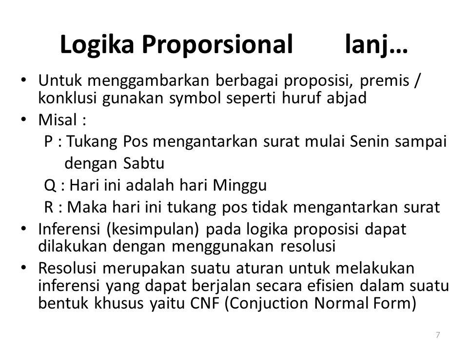 Logika Proporsional lanj… Untuk menggambarkan berbagai proposisi, premis / konklusi gunakan symbol seperti huruf abjad Misal : P : Tukang Pos menganta