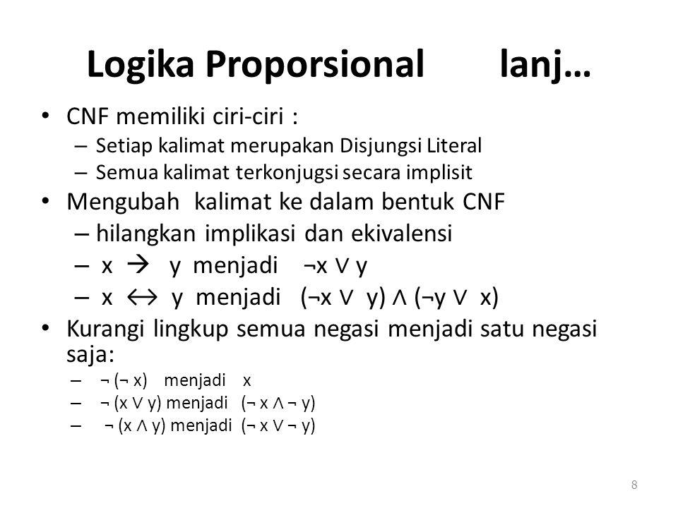 Logika Proporsional lanj… CNF memiliki ciri-ciri : – Setiap kalimat merupakan Disjungsi Literal – Semua kalimat terkonjugsi secara implisit Mengubah k