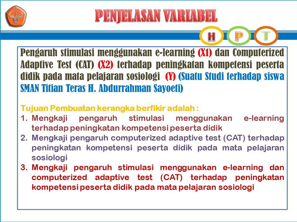 Pengaruh stimulasi menggunakan e-learning (X1) dan Computerized Adaptive Test (CAT) (X2) terhadap peningkatan kompetensi peserta didik pada mata pelaj