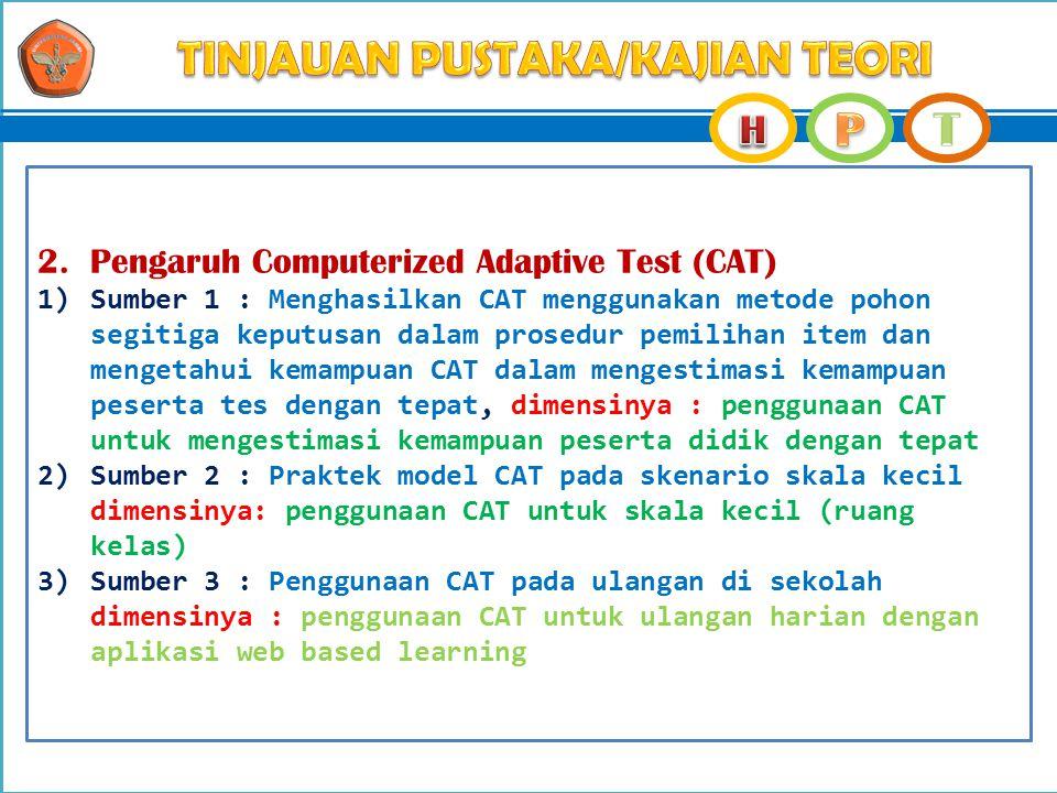 2. Pengaruh Computerized Adaptive Test (CAT) 1)Sumber 1 : Menghasilkan CAT menggunakan metode pohon segitiga keputusan dalam prosedur pemilihan item d