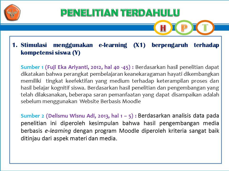 1.Stimulasi menggunakan e-learning (X1) berpengaruh terhadap kompetensi siswa (Y) Sumber 1 (Fuji Eka Ariyanti, 2012, hal 40 -45) : Berdasarkan hasil p