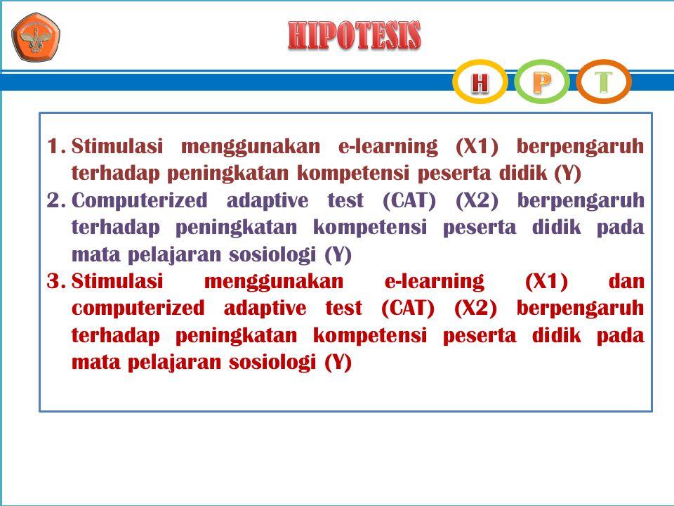 1.Stimulasi menggunakan e-learning (X1) berpengaruh terhadap peningkatan kompetensi peserta didik (Y) 2.Computerized adaptive test (CAT) (X2) berpenga