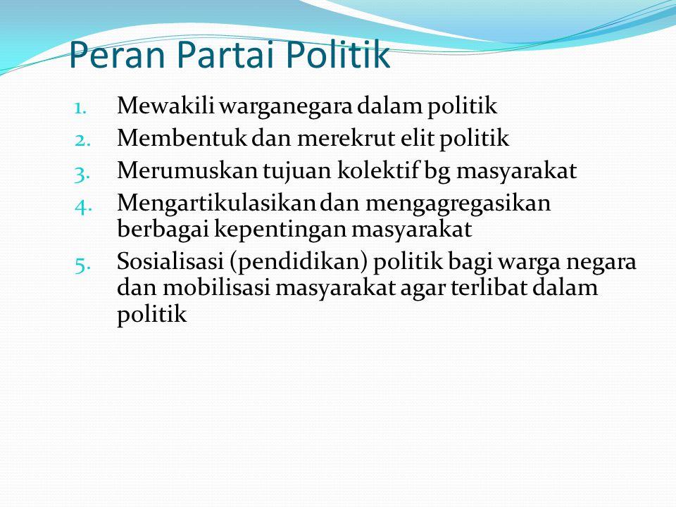 Peran Partai Politik 1. Mewakili warganegara dalam politik 2. Membentuk dan merekrut elit politik 3. Merumuskan tujuan kolektif bg masyarakat 4. Menga