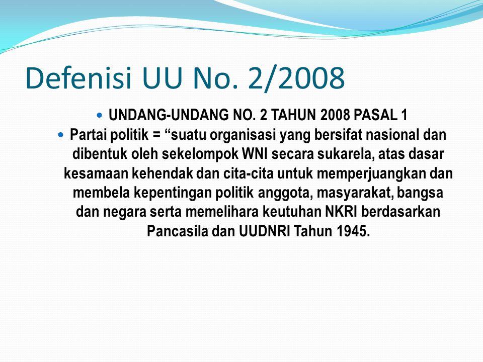 """Defenisi UU No. 2/2008 UNDANG-UNDANG NO. 2 TAHUN 2008 PASAL 1 Partai politik = """"suatu organisasi yang bersifat nasional dan dibentuk oleh sekelompok W"""