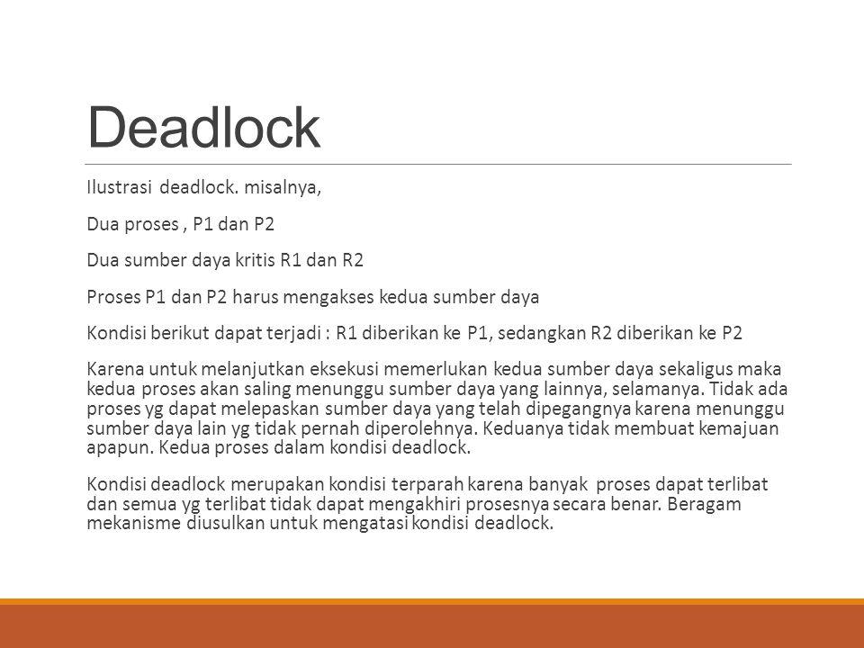 Deadlock Ilustrasi deadlock. misalnya, Dua proses, P1 dan P2 Dua sumber daya kritis R1 dan R2 Proses P1 dan P2 harus mengakses kedua sumber daya Kondi