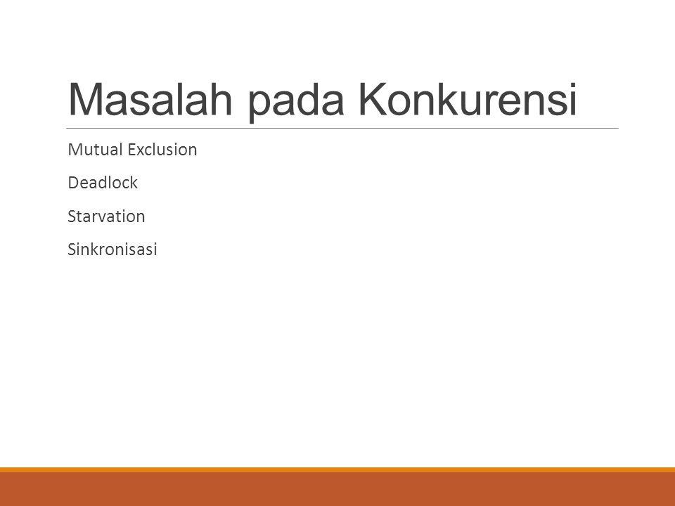 Lingkup Konkurensi 1.Alokasi layanan prosessor untuk proses-proses.