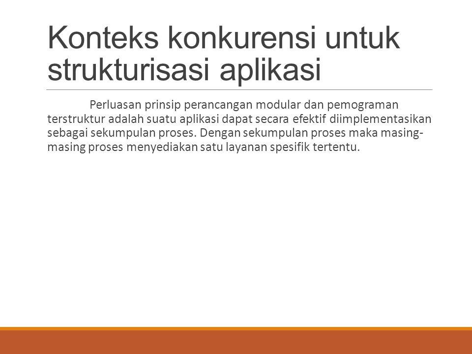 Konteks konkurensi untuk strukturisasi aplikasi Perluasan prinsip perancangan modular dan pemograman terstruktur adalah suatu aplikasi dapat secara ef