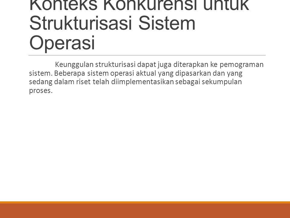 Konteks Konkurensi untuk Strukturisasi Sistem Operasi Keunggulan strukturisasi dapat juga diterapkan ke pemograman sistem. Beberapa sistem operasi akt
